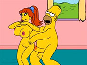 Homero y su amante en video porno de los Simpson - Hentai